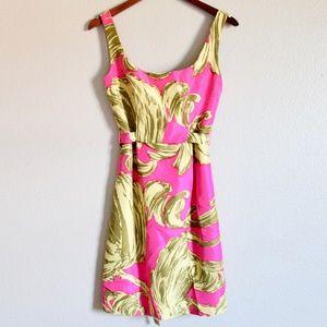 Milly Silk Sleeveless Pink Tropical Shift Dress 2